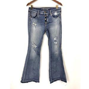 American Eagle Boho Artist Distress Flare Jeans 12